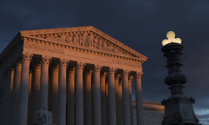 The Supreme Court is seen at sunset in Washington on Jan. 24, 2019. (Scott Applewhite/AP)
