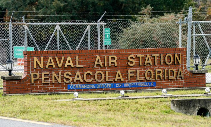 The Pensacola Naval Air Station following a shooting in Pensacola, Fla., on Dec. 6, 2019. (Josh Brasted/Getty Images)