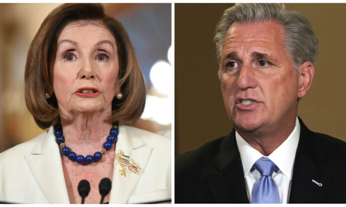 (L)-Speaker of the House Nancy Pelosi in a file photo. (Saul Loeb/AFP via Getty Images); (R)-House Minority Leader Kevin McCarthy in a file photo. (Alex Wong/Getty Images)