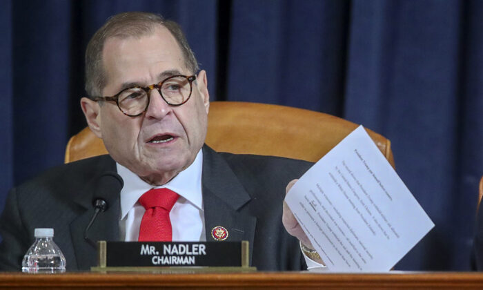 House Judiciary Committee Chairman Rep. Jerry Nadler (D-N.Y.) settles in for a House Judiciary Committee hearing to receive counsel presentations of evidence on the impeachment inquiry into President Donald Trump on Capitol Hill in Washington, on Dec. 9, 2019. (Jonathan Ernst-Pool/Getty Images)