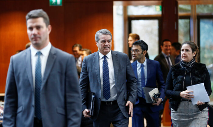 World Trade Organization (WTO) Director-General Roberto Azevedo arrives for the General Council at the WTO headquarters in Geneva, Switzerland, Dec. 9, 2019. (REUTERS/Denis Balibouse)