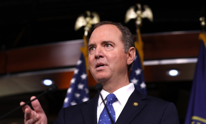 House Intelligence Chairman Adam Schiff (D-Calif.) holds a news conference shortly after the release of the committee's Trump-Ukraine Impeachment Inquiry Report at the U.S. Capitol in Washington on Dec. 3, 2019. (Chip Somodevilla/Getty Images)