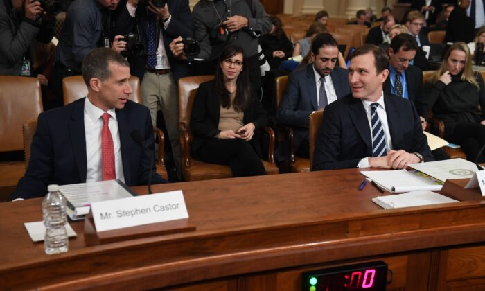 House Intelligence Committee majority counsel Daniel Goldman (R) and House Judiciary Committee minority counsel Steve Castor at a House Judiciary Committee hearing on the grounds for the impeachment of President Donald Trump on Capitol Hill in Washington on Dec. 9, 2019. (Saul Loeb/AFP via Getty Images)
