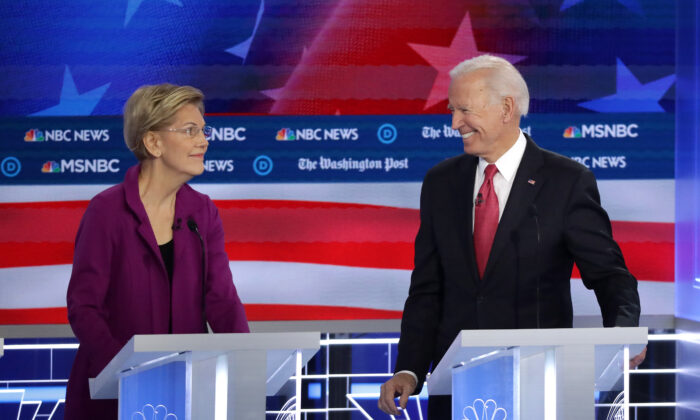 Sen. Elizabeth Warren (D-Mass.) and former Vice President Joe Biden look at each other during the Democratic Presidential Debate at Tyler Perry Studios in Atlanta, Georgia on Nov. 20, 2019. (Alex Wong/Getty Images)