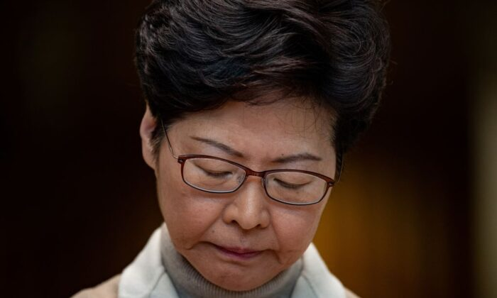 Hong Kong leader Carrie Lam speaks at a press conference in Hong Kong on Dec. 10, 2019. (Philip Fong/AFP via Getty Images)