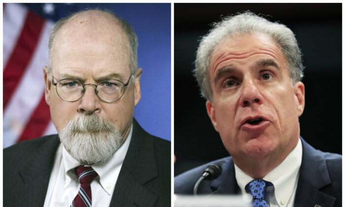 L-U.S. Attorney John Durham. (Department of Justice); R-Department of Justice Inspector General Michael Horowitz. (Manuel Balce Ceneta/AP Photo)