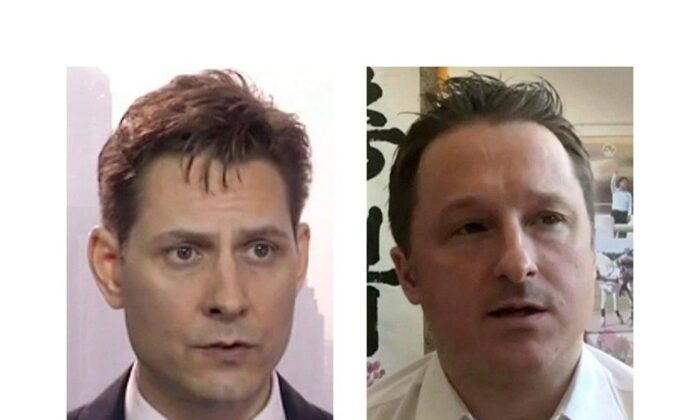 Michael Kovrig (L) and Michael Spavor have been detained in China for 1 year. (The Canadian Press)