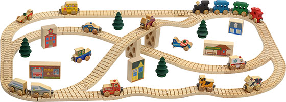 Maple Landmark offers a variety of well-made wooden train track sets and accessories. (Courtesy of Maple Landmark)