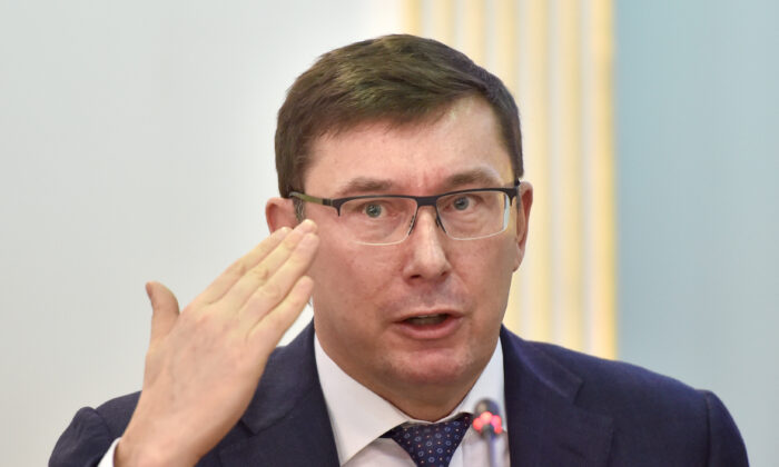 Prosecutor General of Ukraine Yuriy Lutsenko gives a press conference in Kiev on the upcoming March 31 presidential elections in the country on March 12, 2019. (Sergei Supinsky/AFP via Getty Images)