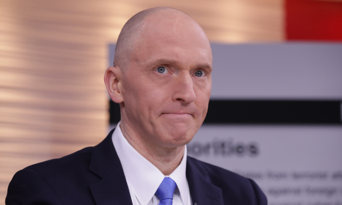 Former Trump campaign associate Carter Page participates in a discussion in Washington in a May 2019 file photograph. (Chip Somodevilla/Getty Images)