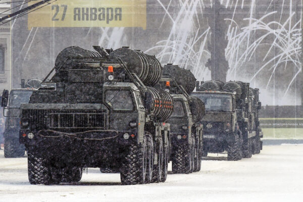 Russian anti-aircraft missile systems C 400 drive during the military parade marking the 75th anniversary of the lifting of the Nazi siege of Leningrad, at Dvortsovaya Square in Saint Petersburg on January 27, 2019. (Olga Maltseva/ AFP via Getty Images)