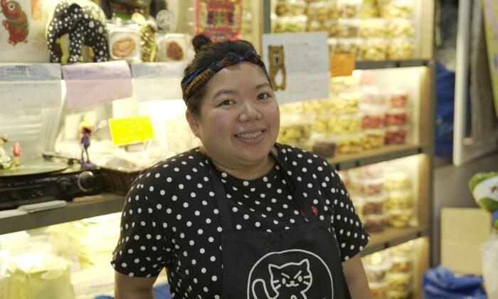 Naomi Suen, the third-generation owner of the Wah Yee Tang bakery in Sai Ying Pun, Hong Kong, on December 3, 2019. (Tal Atzmon/NTD)
