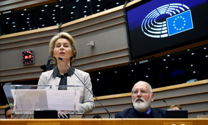 European Commission President Ursula von der Leyen speaks during an extraordinary session to present a Green Deal plan at the European Parliament in Brussels, Belgium, on Dec. 11, 2019. (Francois Lenoir/Reuters)