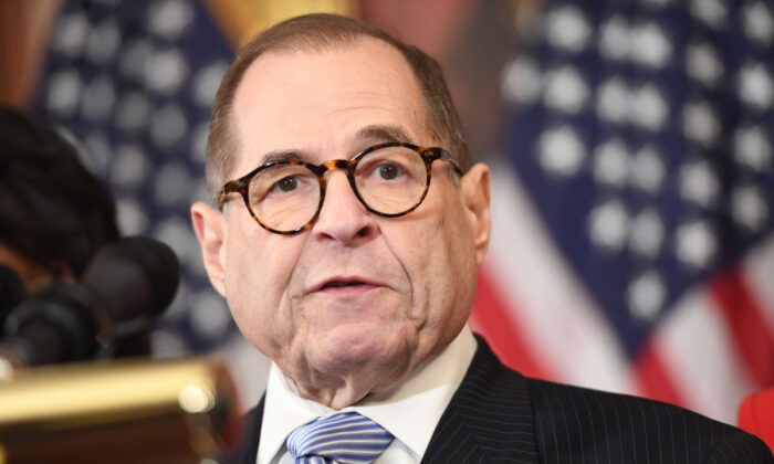 House Judiciary Chairman Jerry Nadler (D-N.Y.) speaks to announce articles of impeachment for President Trump during a press conference at the Capitol in Washington, DC, on Dec. 10, 2019. Saul Loeb/AFP via Getty Images