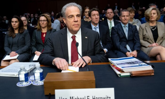 Justice Department Inspector General Michael Horowitz arrives to testify about the Inspector General's report on alleged abuses of the Foreign Intelligence Surveillance Act (FISA) during a Senate Judiciary Committee hearing on Capitol Hill in Washington on Dec. 11, 2019. (Saul Loeb/AFP via Getty Images)