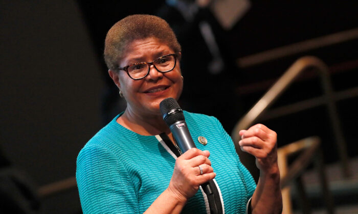 Rep. Karen Bass (D-Calif.) speaks in Washington in a file photograph. (Paul Morigi/Getty Images for Paramount Pictures)