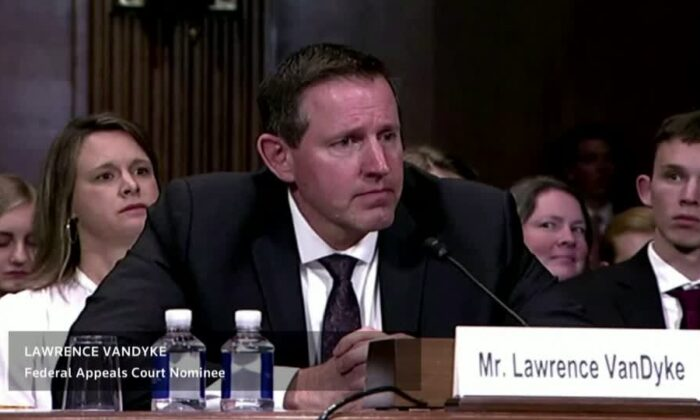 Lawrence VanDyke, nominee to the U.S. Federal Judiciary, testifies before the Senate Judiciary Committee on Capitol Hill on Oct. 30, 2019. (2019 Thomson Reuters)