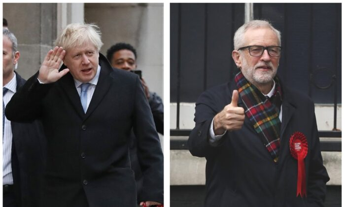 (L) Conservative Party leader Boris Johnson casts his vote at Methodist Central Hall in the Westminster area of London on Dec. 12, 2019, and (R) Britain's Labour Party leader Jeremy Corbyn casts his vote in the Islington area of London on Dec. 12, 2019. (Frank Augstein, Thanassis Stavrakis/AP Photo)