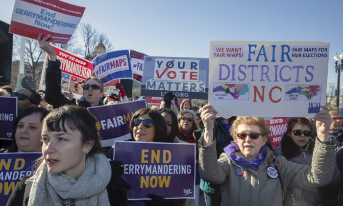 """Protesters attends a rally for """"Fair Maps"""" in Washington on March 26, 2019. (Tasos Katopodis/Getty Images)"""