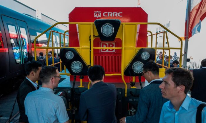 A Deutsche Bahn Hybrid Shunting Locomotive made by Chinese rail giant CRRC is on display at Innotrans, the railway industry's largest trade fair, in Berlin on Sept. 19, 2018. (John MacDougall/AFP via Getty Images)