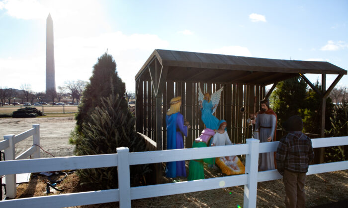 A nativity scene is on display near the Washington Monument on December 23, 2010 in Washington, DC. (Brendan Hoffman/Getty Images)