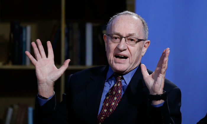 "Alan Dershowitz attends Hulu Presents ""Triumph's Election Special"" produced by Funny Or Die at NEP Studios in New York City on Feb. 3, 2016. Progressives see law as a form of politics, they view civil liberties lawyer and lifetime Democrat Alan Dershowitz as ""supporting"" Trump, even though Dershowitz is only arguing for a rule of law.  John Lamparski/Getty Images for Hulu"