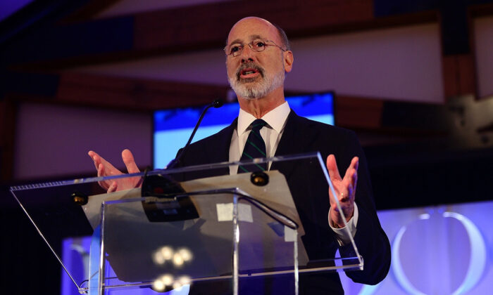 """Pennsylvania Gov. Tom Wolf speaks on stage during the Geisinger National Symposium, """"From Crisis to Cure: Revitalizing America's Healthcare System,"""" in Danville, PA, on Nov. 9, 2017.  Lisa Lake/Getty Images for Geisinger Symposium"""