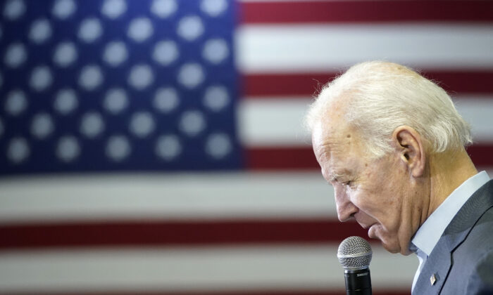 Democratic presidential candidate former U.S. Vice president Joe Biden campaigns at a VFW Hall in Oelwein, Iowa on Dec. 7, 2019. (Win McNamee/Getty Images)
