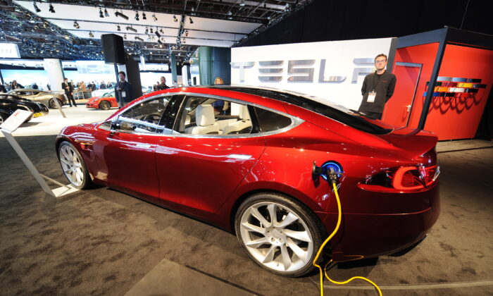 The Tesla Model S electric car at the 2010 North American International Auto Show in Detroit, Mich., Jan. 12, 2010. (STAN HONDA/AFP via Getty Images)