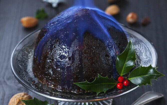 Christmas pudding, set aflame. (Shutterstock)