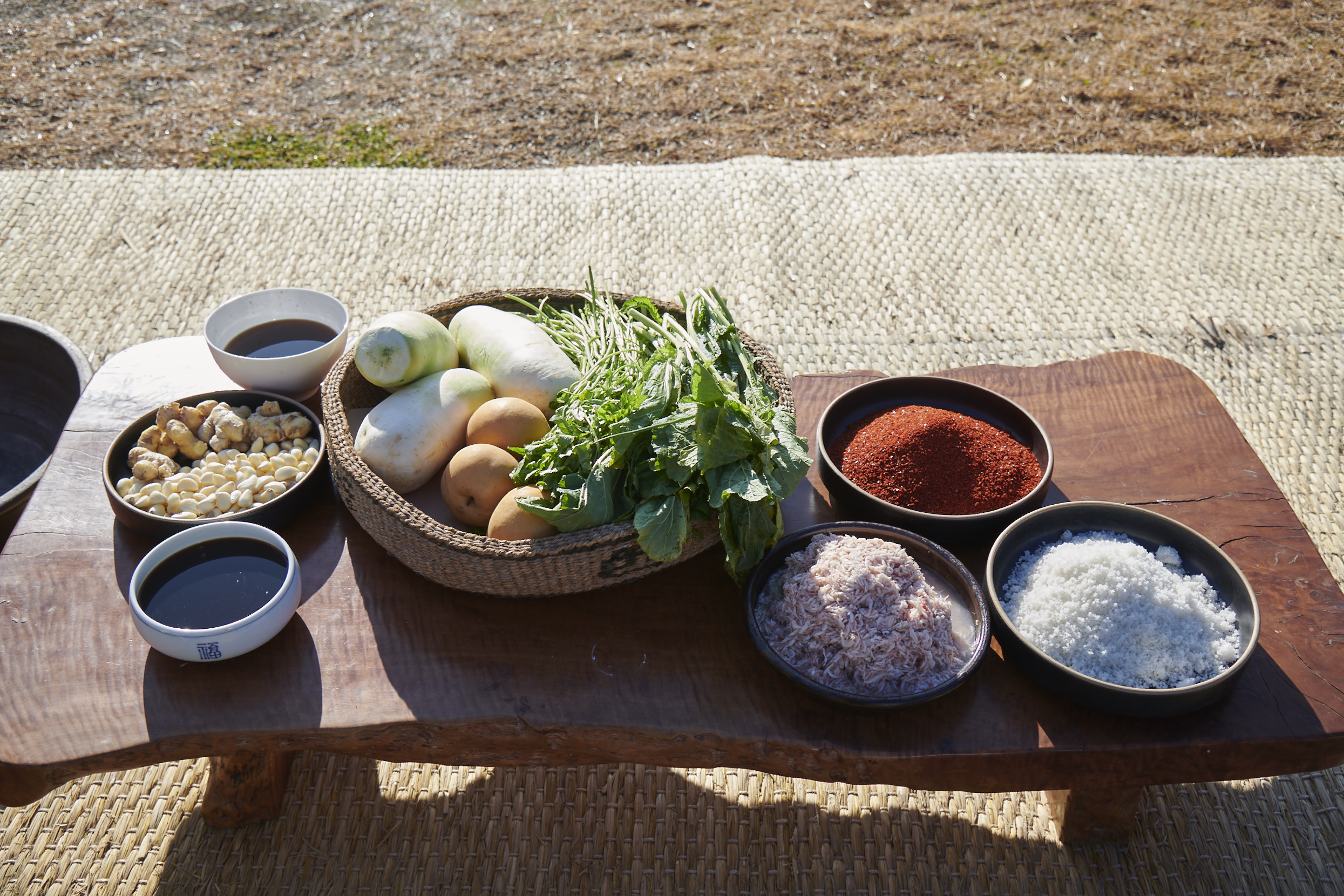 ingredients for making kimchi paste
