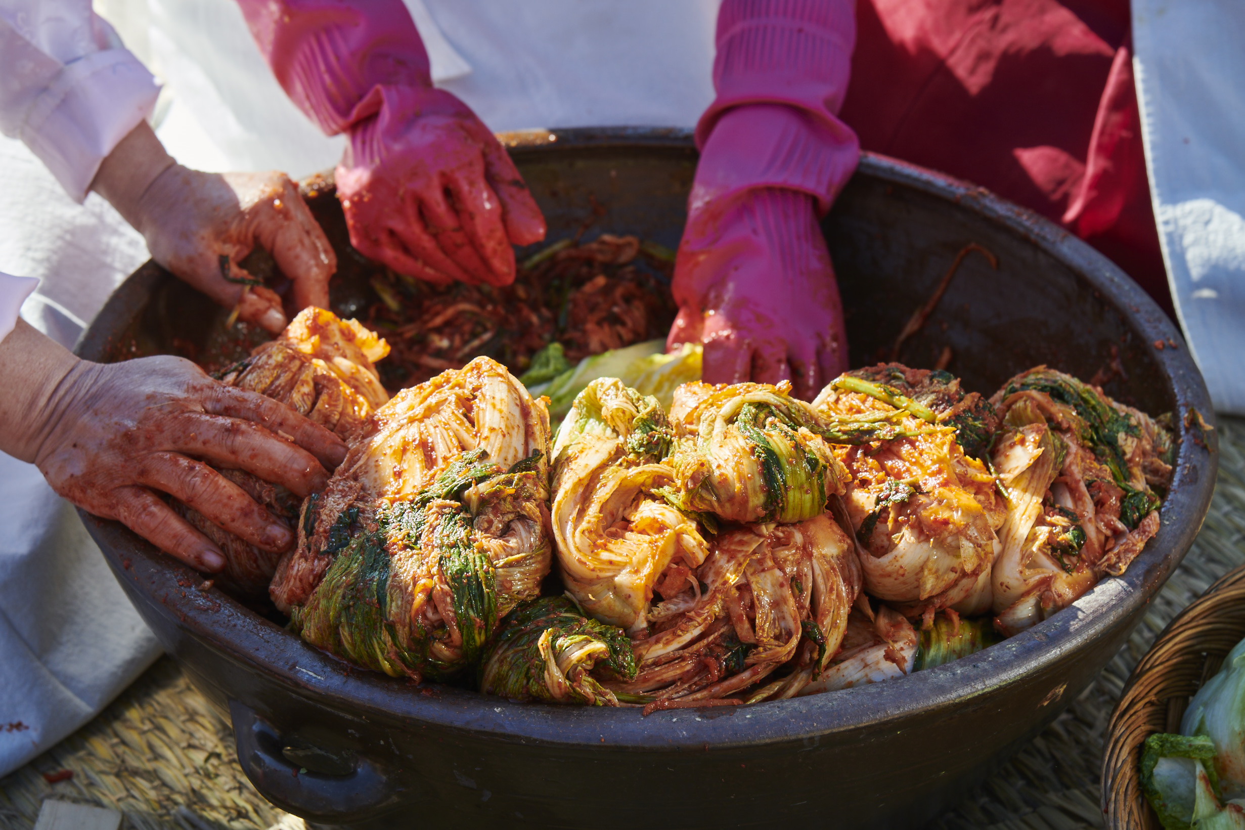 parcels of cabbage kimchi