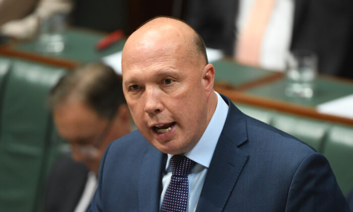 Australian Liberal MP Peter Dutton in the House of Representatives at Parliament House in Canberra, Australia on Nov. 25, 2019. (Tracey Nearmy/Getty Images)