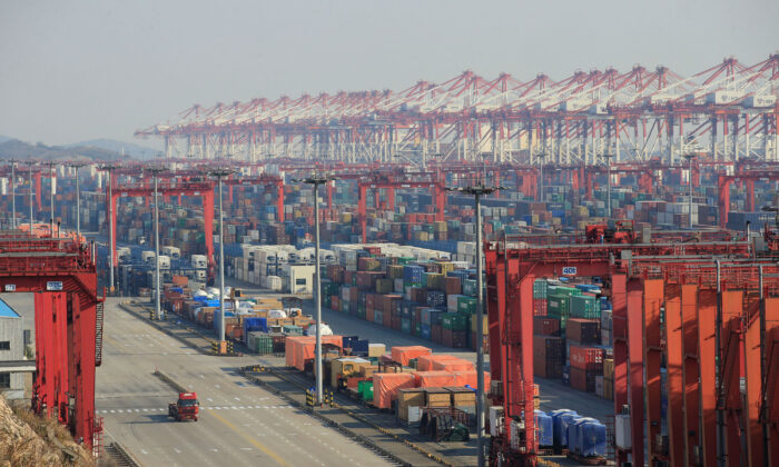 Containers are seen at the Yangshan Deep Water Port, part of the Shanghai Free Trade Zone, in Shanghai, China, Feb. 13, 2017. (Reuters/Aly Song)
