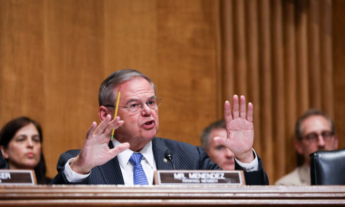 Sen. Bob Menendez (D-N.J.) speaks during a hearing with Secretary of State Mike Pompeo where he testified during a Senate Foreign Relations Committee hearing in Washington on July 25, 2018. (Samira Bouaou/The Epoch Times)