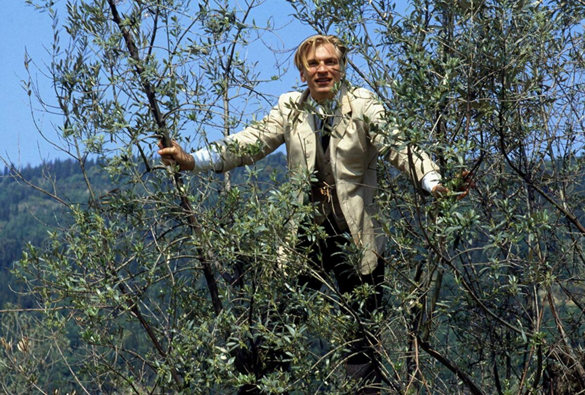 a blond man in a suit climbs a tree
