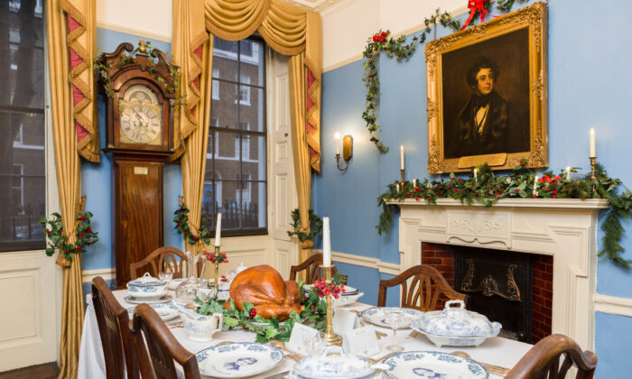 Charles Dickens's dining room is decorated for Christmas at the Charles Dickens Museum, London. (Jayne Lloyd /Charles Dickens Museum)