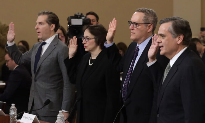 Constitutional scholars (L–R) Noah Feldman of Harvard University, Pamela Karlan of Stanford University, Michael Gerhardt of the University of North Carolina, and Jonathan Turley of George Washington University are sworn in prior to testifying before the House Judiciary Committee on Capitol Hill in Washington on Dec. 4, 2019.   (Alex Wong/Getty Images)