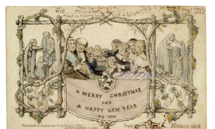 The Henry Cole Christmas card, 1843, by John Callcott Horsley, England. Printed by Jobbins of Warwick Court, Holborn. (Victoria and Albert Museum, London)