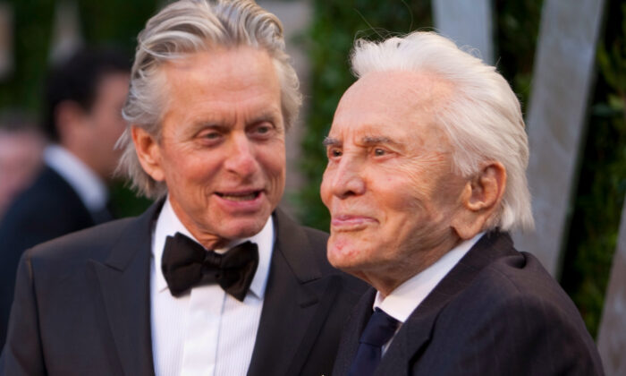 Actors Michael Douglas, left, and his father Kirk Douglas. (Adrian Sanchez-Gonzalez/Getty Images)