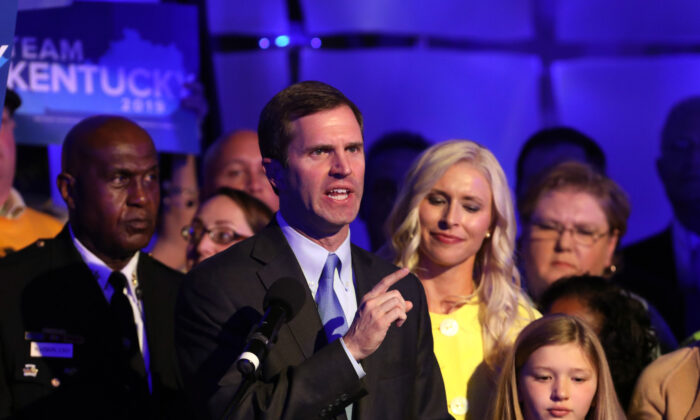 Andy Beshear speaks to supporters in Louisville, Kentucky on Nov. 5, 2019.(John Sommers II/Getty Images)