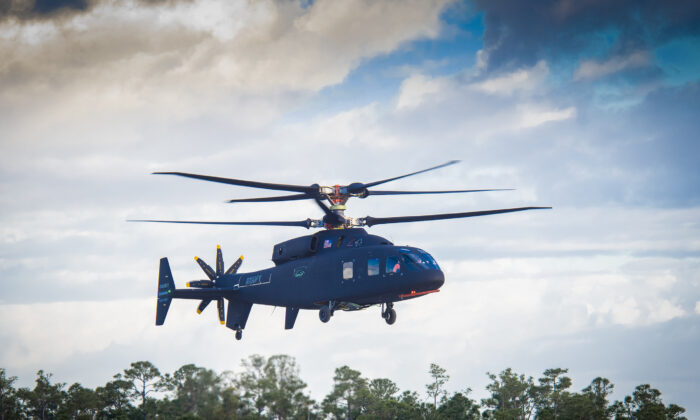 The Sikorsky-Boeing SB>1 Defiant helicopter achieved first flight March 21, 2019. (Photo courtesy Sikorsky and Boeing)