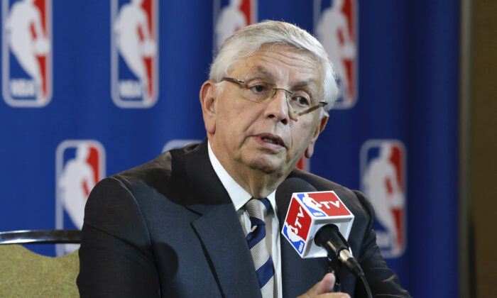 NBA Commissioner David Stern at a news conference following an NBA Board of Governors meeting in Dallas, Texas, in May 15, 2013. (Tony Gutierrez/AP Photo)