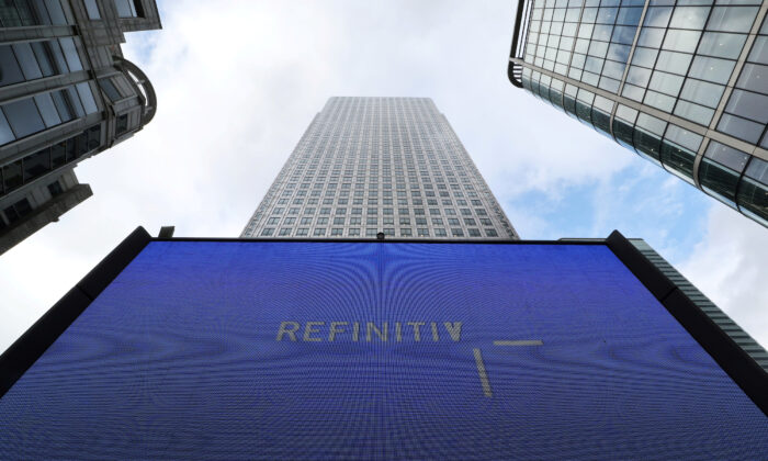 An advertisement for Refinitiv is seen on a screen in London's Canary Wharf financial center, Britain, on Oct. 2, 2018. (Russell Boyce/Reuters)