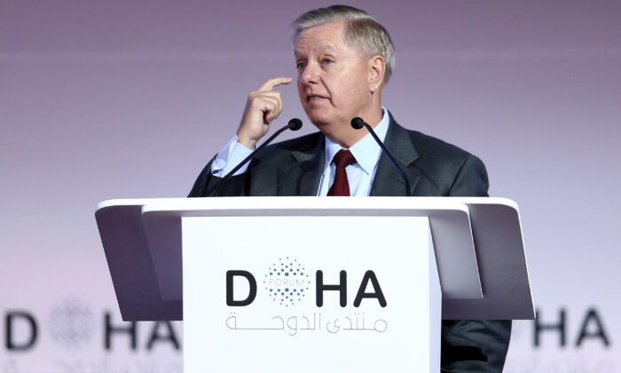 U.S. Sen. Lindsey Graham (R-S.C.), Chairman of the Senate Committee on the Judiciary, speaks during a plenary session of the Doha Forum in the Qatari capital on Dec. 14, 2019. (MUSTAFA ABUMUNES/AFP via Getty Images)