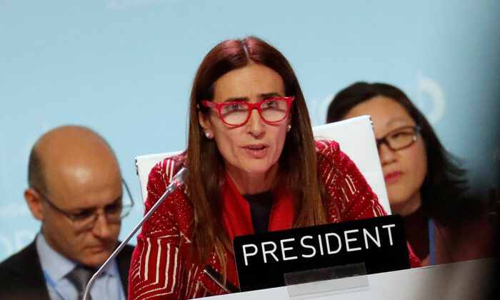 Carolina Schmidt, COP25 President and Chile's Minister of Environment, speaks at the U.N. Climate Change Conference (COP25) in Madrid, Spain, on Dec. 15, 2019. (Reuters/Nacho Doce)