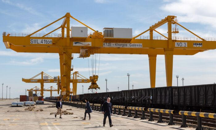 This file photo taken on  April 15, 2019 shows the KTZE-Khorgos Gateway Dry port, a logistics hub on the Kazakh side of the Kazakhstan-Chinese border, on April 15, 2019. (Abduaziz Madyarov/AFP via Getty Images)