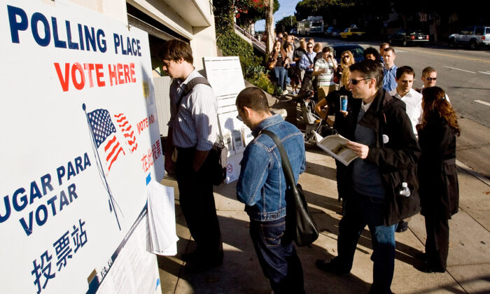 People wait in line to vote on Castro Street in San Francisco, Calif., on Nov. 4, 2008. David Paul Morris/Getty Images