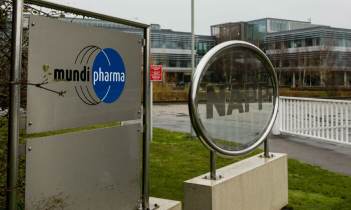 Mundipharma International headquarters at Cambridge Science Park in England, on Dec. 12, 2019. (Leila Coker/AP Photo)