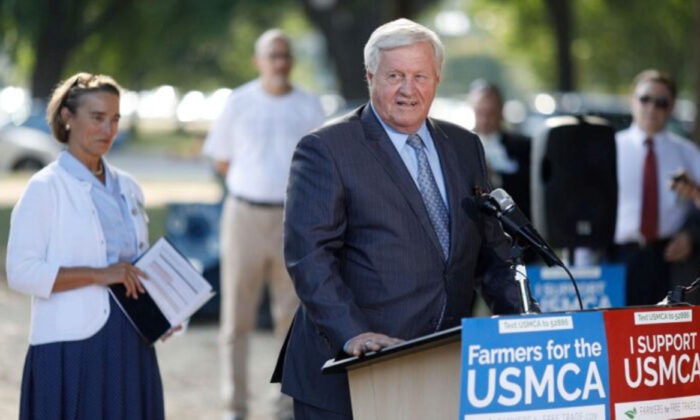 Chairman of the House Agriculture Committee Rep. Collin Peterson (D-Minn.) delivers remarks during a rally for the passage of the USMCA trade agreement  in Washington on Sept. 12, 2019. (Photo by Tom Brenner/Getty Images)